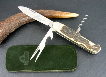 HUBERTUS - 89.114.HH.02 - Take-Apart Picnic Knife with Handle Slabs of Staghorn