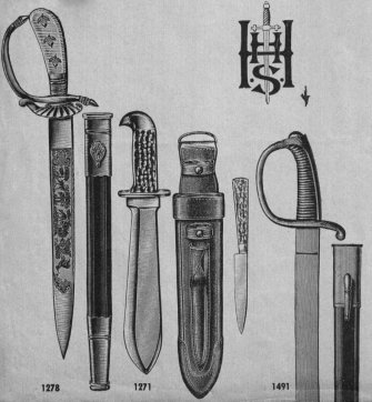 Edged weapon from an undated catalog of the  Blankwaffenfabrik<br />E. & F. Hörster, Solingen